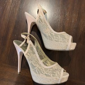 Guess Nude Lace Heels. BUY BY 6/25